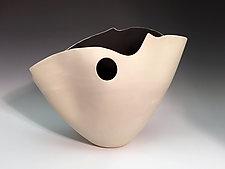 Folded Vase with Black Interior by Jean Elton (Ceramic Vase)