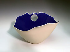 Sculpted Vase with Blue Interior by Jean Elton (Ceramic Vase)