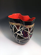 Sculpted Geometric Patterned Tall Vase with Red-Orange Interior by Jean Elton (Ceramic Vase)