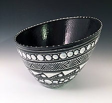 Slanted Black & White Geometric Vessel by Jean Elton (Ceramic Vessel)