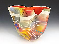 Tall Mottled Vase with Red Orange Interior by Jean Elton (Ceramic Vessel)