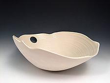 White Elliptical Bowl by Jean Elton (Ceramic Bowl)