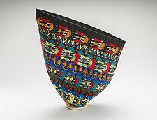Colorful Geometric Pattern Sailvase II by Jean Elton (Ceramic Vase)