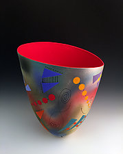 Abstract and Geometric Tall Vase with Red Interior by Jean Elton (Ceramic Vase)