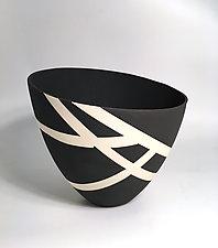 Bold Black and White Contour Vase II by Jean Elton (Ceramic Vase)