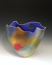 Airbrushed Folded Tall Vase with Electric Blue Interior by Jean Elton (Ceramic Vase)