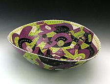 Mauve and Chartreuse Geometric Elliptical Bowl by Jean Elton (Ceramic Bowl)