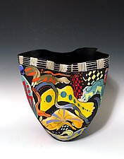 Abstract Multicolored Tall Vase with Black Interior by Jean Elton (Ceramic Vase)