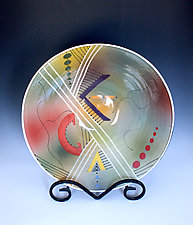 Airbrushed Muted Green Bowl with Modern Patterns by Jean Elton (Ceramic Bowl)