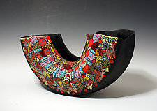 Black and Colorful Geometric Patterned Arc Vessel by Jean Elton (Ceramic Vase)