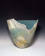 Abstract Line and Paint-Stroke Tall Vase with Cutout and Pale Aqua Interior by Jean Elton (Ceramic Vase)