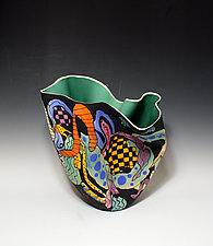 Abstract Multi-Colored Sculpted Tall Vase with Mint Green Interior by Jean Elton (Ceramic Vases & Vessels)