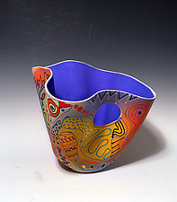 Abstract Multicolored Tall Vase with Royal Blue Interior by Jean Elton (Ceramic Vase)