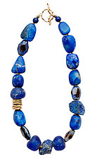Indigo Necklace by Julie Cohn (Art Glass, Bronze & Stone Necklace)