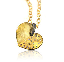 Large 18k Bleeding Heart Pendant by Rebecca  Myers (Gold, Silver & Stone Necklace)