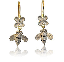 Small Silver Bees with Diamond Flowers on Wires by Rebecca  Myers (Gold, Silver & Stone Earrings)