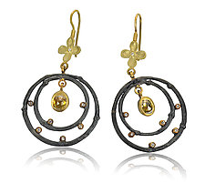 Branch and Flower Earrings with Diamonds by Rebecca  Myers (Gold, Silver & Stone Earrings)