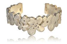 Silver Flower Cuff by Rebecca  Myers (Silver & Stone Bracelet)
