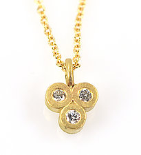 Tri-Diamond Charm Necklace by Rebecca  Myers (Gold & Stone Necklace)