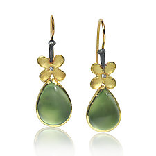 Prehnite Pear Earrings by Rebecca  Myers (Gold, Silver & Stone Earrings)