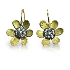 Black-Eyed Susan Earrings by Rebecca  Myers (Gold, Silver & Stone Earrings)