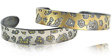 Medium Cheetah Print Cuff by Rebecca  Myers (Gold or Palladium Bracelet)