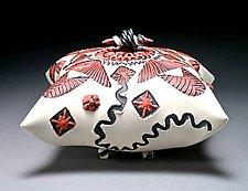 Black, Red, & White Square Sitting Pillow by Darlene Davis (Ceramic Box)