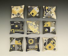 Nine Mouse Pillows by Darlene Davis (Ceramic Wall Sculpture)