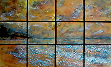 The Beach in 12 Panels by Cynthia Miller (Art Glass Wall Sculpture)