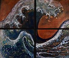 Vigorous Wave Quartet by Cynthia Miller (Art Glass Wall Sculpture)