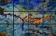 Earliest Spring in Twelve Panels by Cynthia Miller (Art Glass Wall Sculpture)