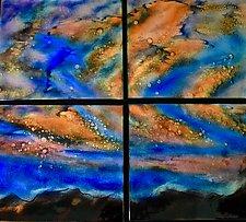 Spring Sunset Quartet by Cynthia Miller (Art Glass Wall Sculpture)