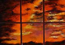 Brilliant Sunset Sextet by Cynthia Miller (Art Glass Wall Sculpture)