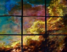 Swan Nebula in Nine Panels by Cynthia Miller (Art Glass Wall Sculpture)