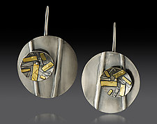 Round Drop Earring with Circle Spinner by Lisa D'Agostino (Gold & Silver Earrings)