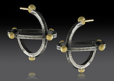 Small Atomic Earrings by Lisa D'Agostino (Gold & Silver Earrings)