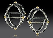 Large Atomic Earrings by Lisa D'Agostino (Gold & Silver Earrings)