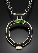 Green Bridge Circle Pendant by Jennifer Park (Enameled Necklace)