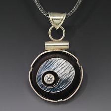 Gray Floating Circle Pendant by Jennifer Park (Enameled Necklace)