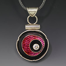Pink Floating Circle Pendant by Jennifer Park (Enameled Necklace)