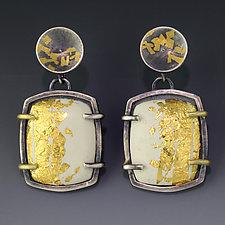 Ivory Gold Enamel Earring by Jennifer Park (Enameled Earrings)