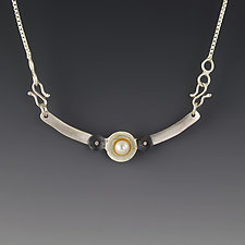 Shell Bar Pendant by Jennifer Park (Gold, Silver & Pearl Necklace)