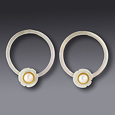 Pearl Shell Hoop Earring by Jennifer Park (Gold, Silver & Pearl Earrings)