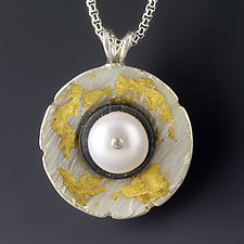 Pearl in Shell Pendant by Jennifer Park (Gold, Silver & Pearl Necklace)