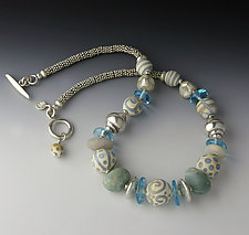 Aqua and Ivory Race Point Necklace by Dianne Zack (Beaded Necklace)