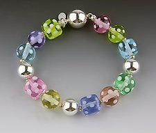 Spring Dot Bracelet by Dianne Zack (Art Glass & Silver Bracelet)