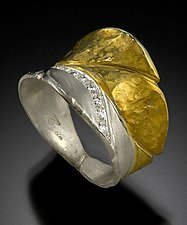 Banana Leaf Ring in Silver & Gold by Rosario Garcia (Gold, Silver & Stone Ring)
