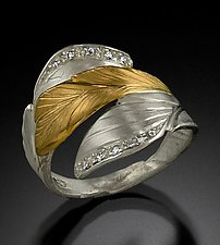 Diamonds Ring II by Rosario Garcia (Gold, Silver & Stone Ring)