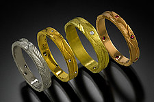 Gold Stacking Rings by Rosario Garcia (Gold & Stone Ring)