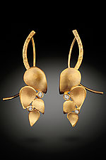 Leaf Earrings with Diamonds by Rosario Garcia (Gold & Stone Earrings)